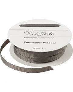 Decoration Ribbon, W: 6 mm, grey, 15 m/ 1 roll