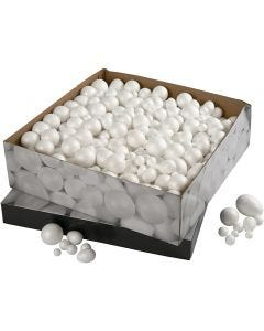 Polystyrene Balls & Eggs, size 1,5-6,1 cm, white, 550 pc/ 1 pack