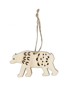 Ornament, polar bear, H: 4,5 cm, depth 0,5 cm, W: 7,5 cm, 4 pc/ 1 pack