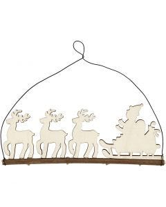 Christmas decoration, cane with reindeer, H: 8 cm, W: 22 cm, 1 pc