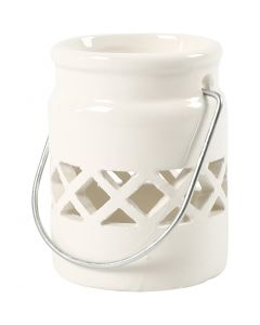 Lantern, H: 8 cm, D: 6,2 cm, 2. sort, white, 2 pc/ 1 pack