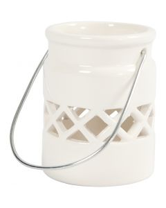 Lantern, H: 8 cm, D: 6,2 cm, white, 6 pc/ 1 box