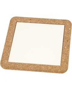 Trivet with cork frame, size 15,5x15,5x1 cm, white, 2 pc/ 1 pack