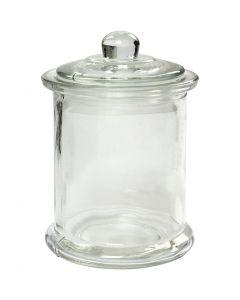 Jar with lid, H: 14,5 cm, D: 8 cm, 10 pc/ 1 box