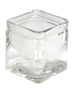 Square Candle Holder, H: 8 cm, size 7,5x7,5 cm, 12 pc/ 1 box