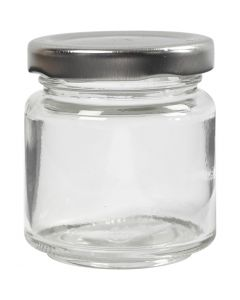 Storage Glass Jar, H: 6,5 cm, D: 5,7 cm, 100 ml, transparent, 12 pc/ 1 box