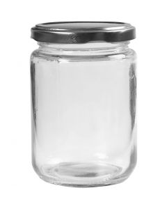 Storage Glass Jar, H: 11 cm, D: 7,5 cm, 370 ml, transparent, 6 pc/ 1 box