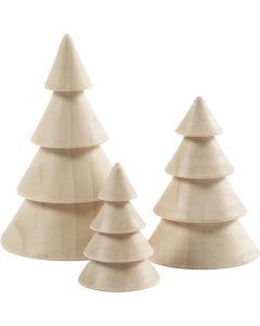Christmas Trees, H: 5+7,5+10 cm, D: 3,5+5,4+6,7 cm, 3 pc/ 1 pack