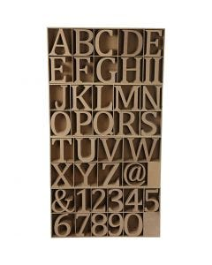 Wooden Letters, Numbers And Symbols, H: 8 cm, thickness 1,5 cm, 240 pc/ 1 pack