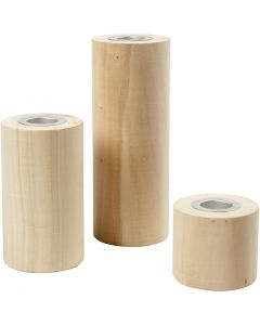 Candle Holders, H: 14,5+9+6,5 cm, hole size 2,3 cm, 3 pc/ 1 pack