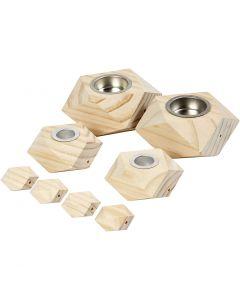 Candle Holders, H: 3,4+5 cm, D: 6,2+9 cm, hole size 2,2+4,2 cm, 1 set