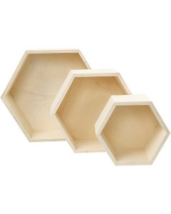 Storage Boxes, H: 14,8+19+24,2 cm, depth 10 cm, 3 pc/ 1 set