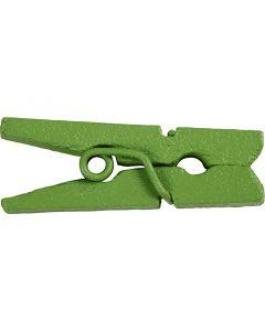 Mini Clothes Peg, L: 25 mm, W: 3 mm, green, 36 pc/ 1 pack