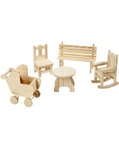 Mini Furniture, garden table, pram, chair, rocking chair, bench, H: 5,8-10,5 cm, 50 pc/ 1 pack