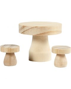 Mushroom Table with Stools, size 2,5x2,5 cm, 1 set