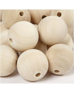Wooden Bead, D: 30 mm, hole size 5 mm, 50 pc/ 1 pack