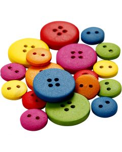 Wooden Buttons, D: 12-20 mm, 2-4 holes, assorted colours, 360 pc/ 1 pack