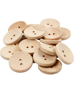 Wooden Buttons, D: 23 mm, hole size 2 mm, 2 holes, 20 pc/ 1 pack