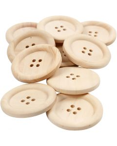 Wooden Buttons, D: 35 mm, hole size 2 mm, 4 holes, 10 pc/ 1 pack