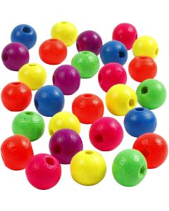 Neonmix Wooden Beads, D: 8 mm, hole size 2,5 mm, 50 g/ 1 pack