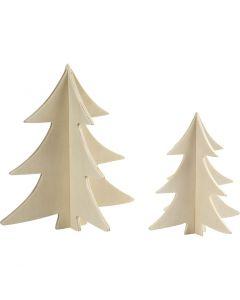 Christmas Trees, H: 13+18 cm, 2 pc/ 1 pack
