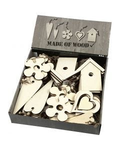 Wooden Ornament, size 6,5-21,5 cm, thickness 5 mm, 100 pc/ 1 pack