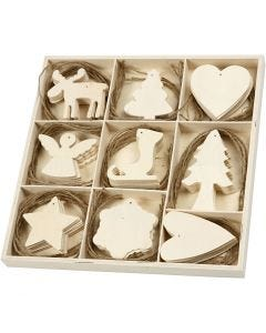 Wooden Ornament, christmas, size 7-8 cm, 72 pc/ 1 pack