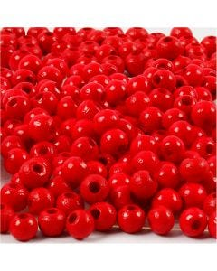 Wooden Beads, D: 5 mm, hole size 1,5 mm, red, 6 g/ 1 pack, 150 pc