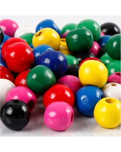 Wooden Beads Mix, D: 10 mm, hole size 3 mm, assorted colours, 230 g/ 1 pack