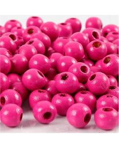 Wooden Beads, D: 8 mm, hole size 2 mm, pink, 15 g/ 1 pack