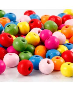 Wooden Beads Mix, D: 8 mm, hole size 1,5-2 mm, assorted colours, 500 g/ 1 bag