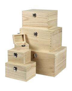 Box Set, H: 5+7+9+11+13+15 cm, L: 8+11,8+15,8+20+24+27,7 cm, W: 5,8+8,8+12+15+18+21 cm, 6 pc/ 1 set