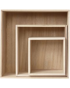 Storage Boxes, H: 15x15+21,5x21,5+28x28 cm, depth 12,5 cm, 3 pc/ 1 set