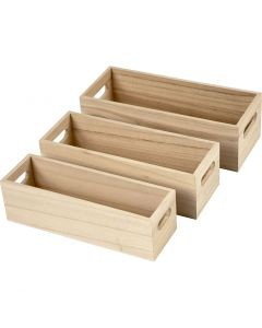 Wooden Storage Boxes, H: 6,5-7,5 cm, L: 22+23,5+25 cm, W: 6,5+7,5+8,5 cm, 3 pc/ 1 set
