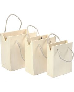 Bag With Handle, H: 12+14+16 cm, depth 5+7+9 cm, W: 16+16,5+18 cm, 3 pc/ 1 set