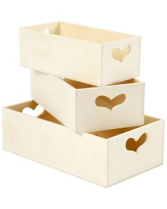 Storage Boxes, H: 6,3+5,8+5,5 cm, L: 20,5+18+15,8 cm, W: 11,5+9,8+7,8 cm, 3 pc/ 1 set