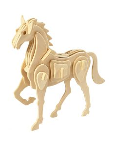 3D Wooden Construction Kit, horse, size 18x4,5x16 cm, 1 pc