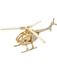 3D Wooden Construction Kit, helicopter, size 26,5x14x26 cm, 1 pc
