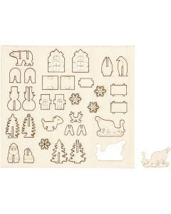 Self-assembly Figures, christmas, L: 15,5 cm, W: 17 cm, 1 pack