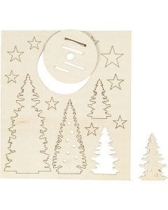 Self-assembly Figures, christmas trees, L: 20 cm, W: 17 cm, 1 pack