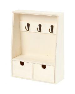 Key cabinet, H: 28,5 cm, depth 5-8 cm, W: 22 cm, 1 pc