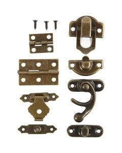 Mini Fittings, size 16x19-21,5x31 mm, antique gold, 15 set/ 1 pack