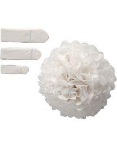 Tissue Pompons, D: 20+24+30 cm, 14 g, white, 3 pc/ 1 pack