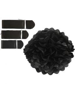 Tissue Pompons, D: 20+24+30 cm, 16 g, black, 3 pc/ 1 pack