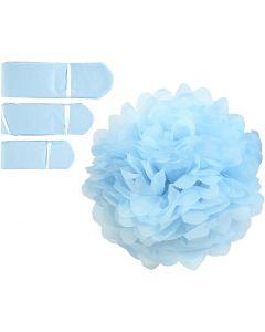 Tissue Pompons, D: 20+24+30 cm, 16 g, light blue, 3 pc/ 1 pack