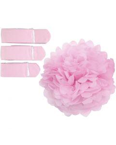 Tissue Pompons, D: 20+24+30 cm, 16 g, light red, 3 pc/ 1 pack