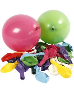 Balloons, Round, D: 23 cm, assorted colours, 100 pc/ 1 pack