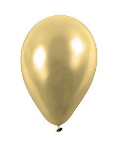 Balloons, round, D: 23 cm, gold, 8 pc/ 1 pack