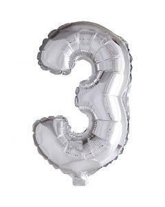 Foil Balloon, 3, H: 41 cm, silver, 1 pc