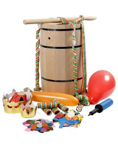 Carnival Barrel with Accessories, H: 54 cm, big, 1 set